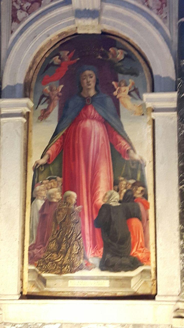 Madonna della Misericordia con parte centrale del trittico della chiesa di Santa Formosa. 1494.
