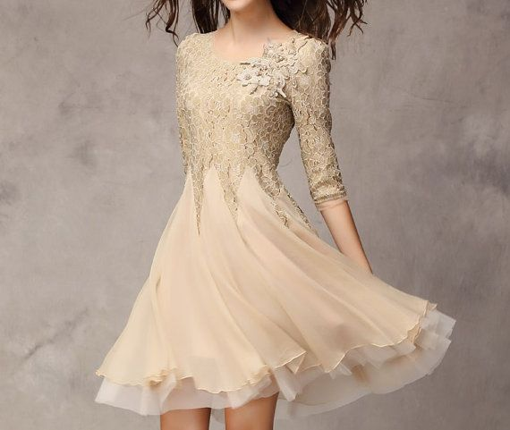 Khaki / Pink / Blue / Red / Blakc / White lace top dress with lace sleeves by happyfamilyjudy, $99.99