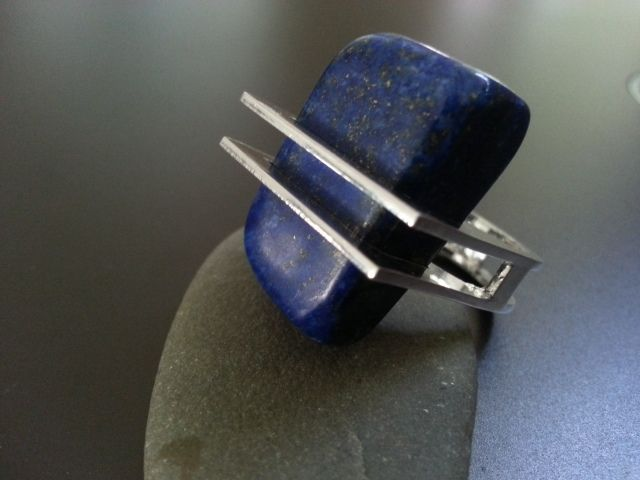 REM Jewellery Lapis Lazuli Ring in an unusual square sterling silver setting