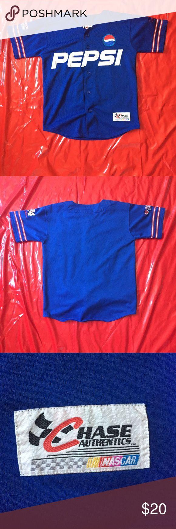 Pepsi Short-Sleeve Button Jersey. Jersey Material Official Nascar Merchandise. Tops
