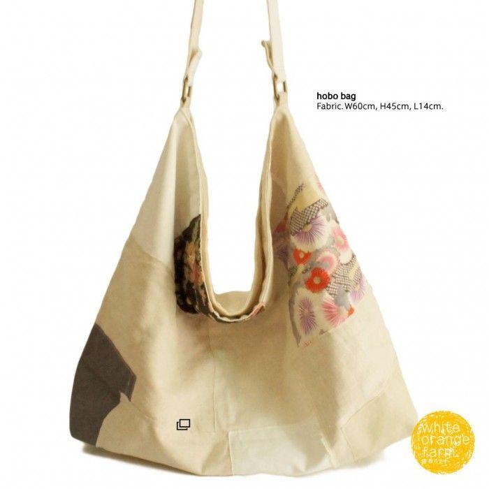 Oriental Flower w/Linen /L #whiteorangefarm #mosseash #handmade #handmadebag #cotton #canvas #linen