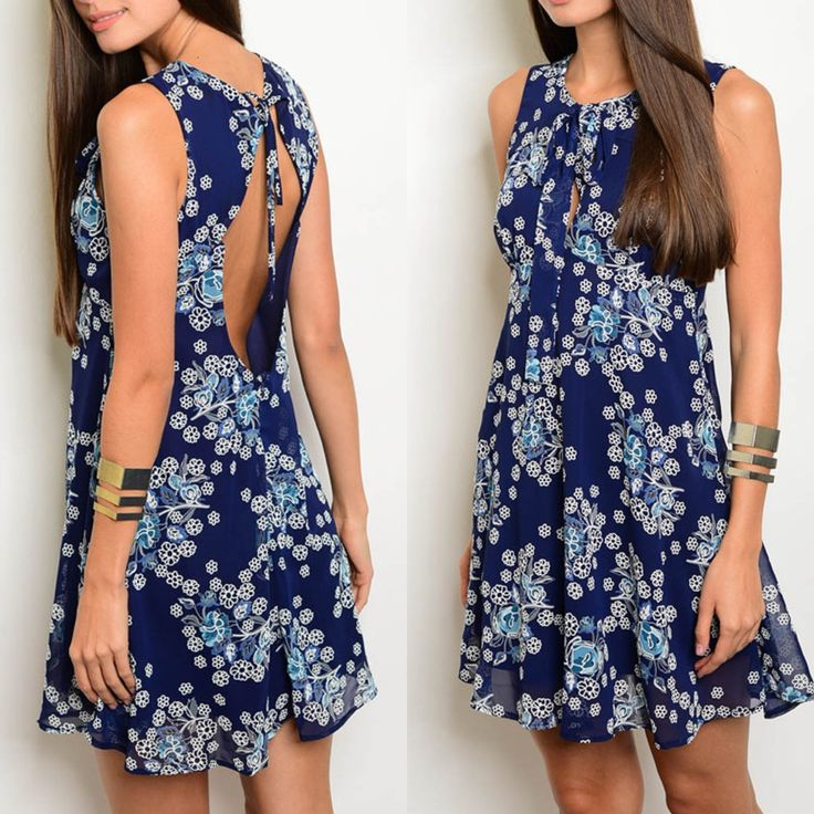 Navy and White Floral Keyhole Back Dress