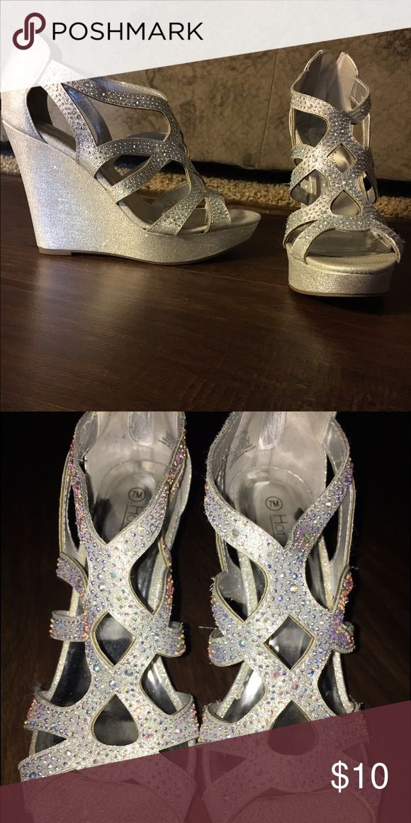 Prom shoes!!! Silver Prom Shoes, only worn once for about 4 hours! Shoes Wedges
