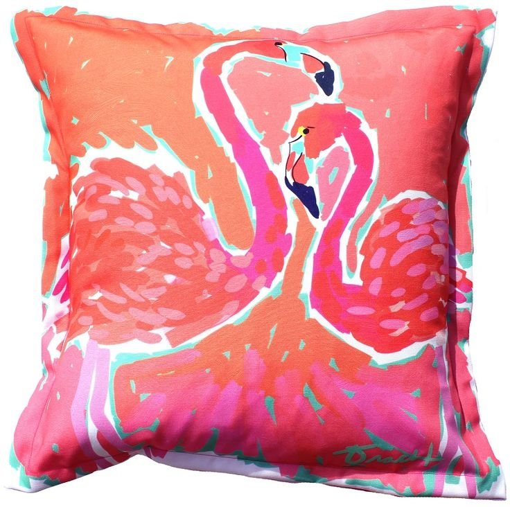 Biscayne Bay Flamingos Indoor Outdoor Pillow