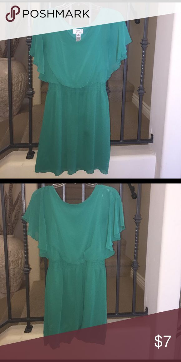 Emerald green dress beautiful and flattering emerald green dress with flutter sleeves and elastic waist. can be worn casually or dressed up. sweet storm Dresses Mini