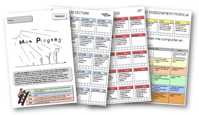 Des cahiers de progrès avec les cartes d'apprentissage
