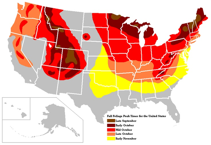 Peak Fall Foliage Map | Fall foliage map showing when the fall colors are at their peak colors ...