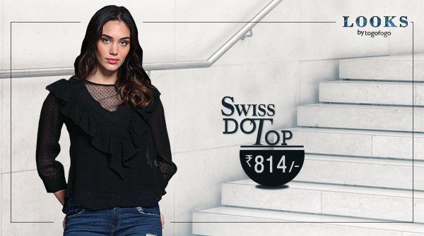 Dots are IN! Checkout the stylish #SwissDotTop at just Rs.814/- #Fashion #Tops #FashionDiva