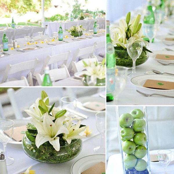 décoration mariage vert au centre de table