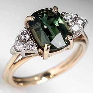 Natural Green Sapphire Engagement Ring 14K Yellow Gold - EraGem