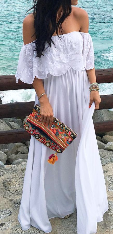 #spring #outfits  White Off The Shoulder Maxi Dress