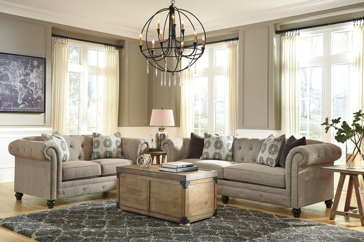 Azlyn Casual Sepia Color Sofa And Loveseat. Azlyn pulls off the mixed media look in such an elegant way. Sofa, loveseat and chair have polyester/linen upholstery covering durable frames. #Tan #High Quality #Ashley #Modern #Chic – Furnituremaxx