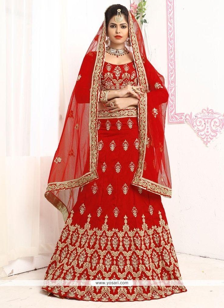Artistic Red Lehenga Choli Model: YOLEN3506