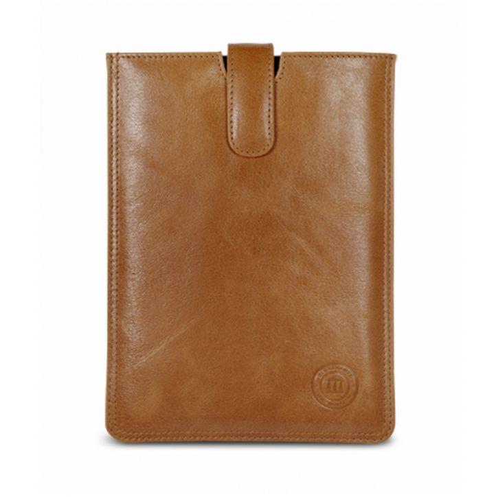 Golden tan leather slip cover for iPad mini. Price: $70-80. More information: www.dbramante1928.com