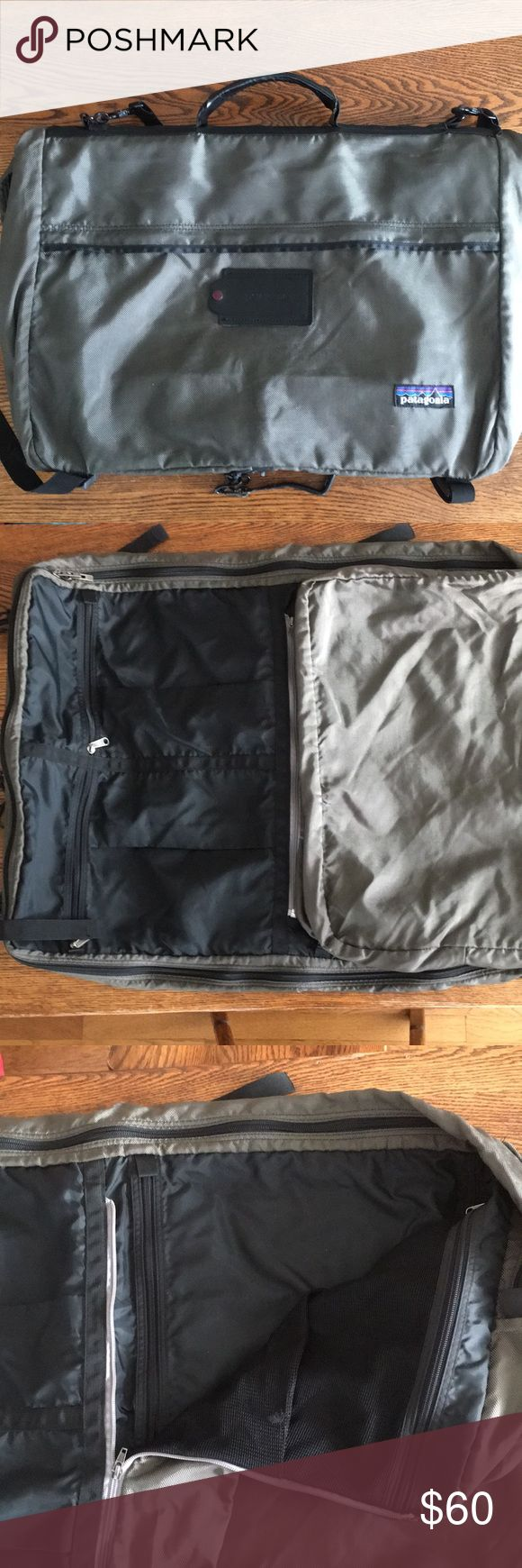 Patagonia Burrito Suiter (soft sided trifold) Soft sided trifold garment bag. Built to hold your clothes wrinkle-free on hangers and to reduce your packing and unpacking time. This convenient carry on garment bag can be folded in thirds and hung in the closet of an airplane. Multiple zippered pockets to keep your shoes away from your toiletries and your toiletries away from your clothes. Padded shoulder strap and top handle for briefcase carry. Aircraft aluminum stay will stay, but needs to…