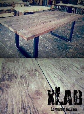 tavolo industrial design in legno massello