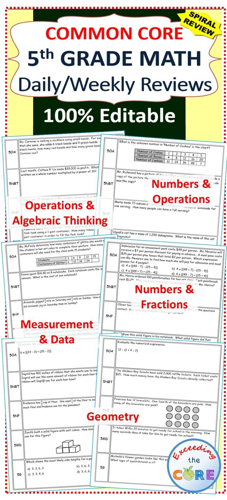 3rd grade common core math review sheets