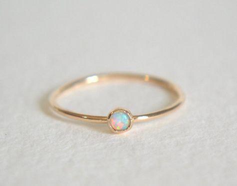 Gold Opal Ring, Opal Ring Gold, Opal Ring, White Opal Ring, Gold Stacking Ring, Dainty Opal Ring, Opal Stacking Ring, Bridesmaids Ring – Renate Hirmke Roth