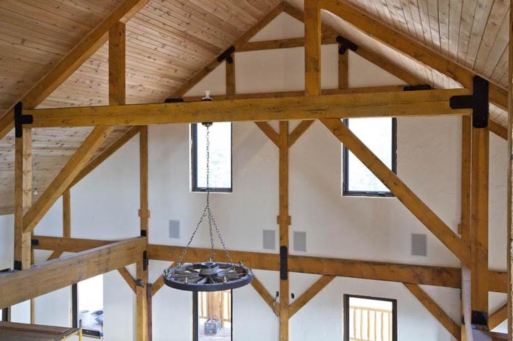 Barn Home interior Beams   www.sandcreekpostandbeam.com | 888-489-1680  Like us on Facebook: https://www.facebook.com/pages/Sand-Creek-Post-Beam-Traditional-Post-Beam-Barn-Kits/66631959179