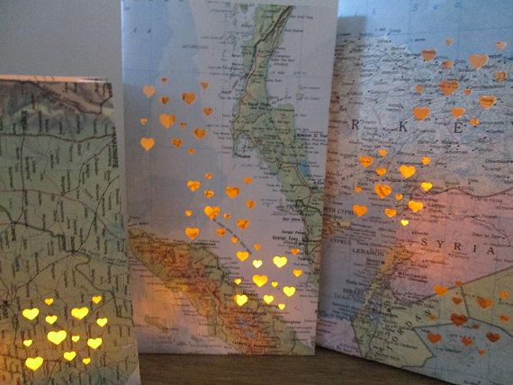 10 Small Map Luminary BagsTravel Theme Decor Made by Oldendesigns