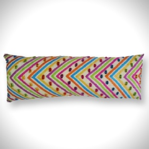 "Thin Long Cushions (7"" x 18"")   Bright Multicoloured Pattern   MRP- Rs. 549"