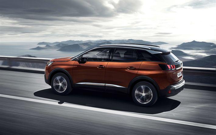 Lataa kuva Peugeot 3008, 2017, 4k, jakosuotimet, uusia autoja, pronssi 3008, Ranskalaiset autot, Peugeot
