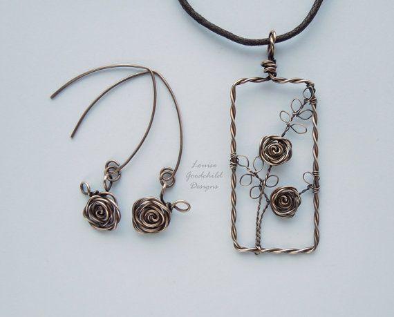 Sleeping Beauty necklace and earrings bronze by LouiseGoodchild
