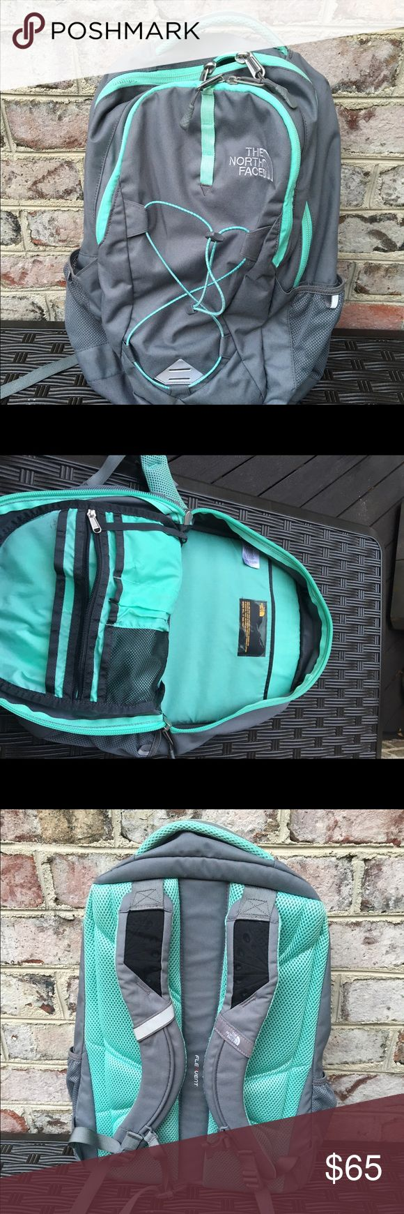 North Face Jester Bookbag This practically brand new book bag has been used but shows very little signs of use. The colors are grey and a teal blue accent. The book bag is perfect for school, college, holds laptops, books, etc! The North Face Other