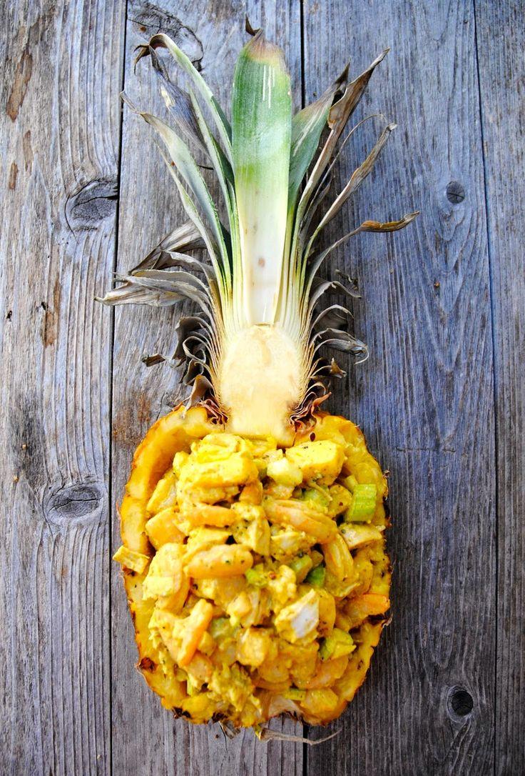 curry kip salade met garnalen en ananas