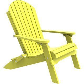 Outdoor Folding Adirondack Chair Yellow Black Plastic Outdoor