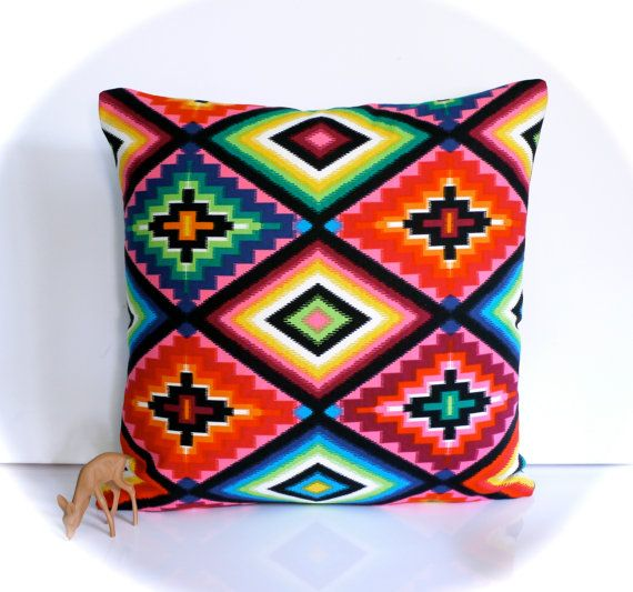 Mexican cushion mexican pillow multicolour by HenriettaAndMorty, $29.95