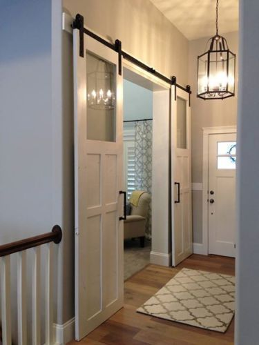 Like the simple glass. We could make this work for our living room. Sliding Barn Door Hardware for Double Doors | eBay