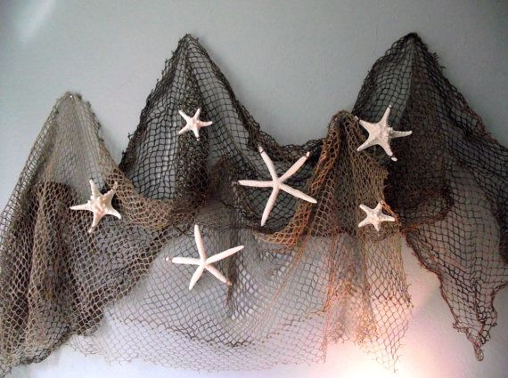 Coastal, beach, nautical home decor, starfish wedding decor, seashell, beach wedding decor, authentic fishing net and star fish on Etsy, $26.95