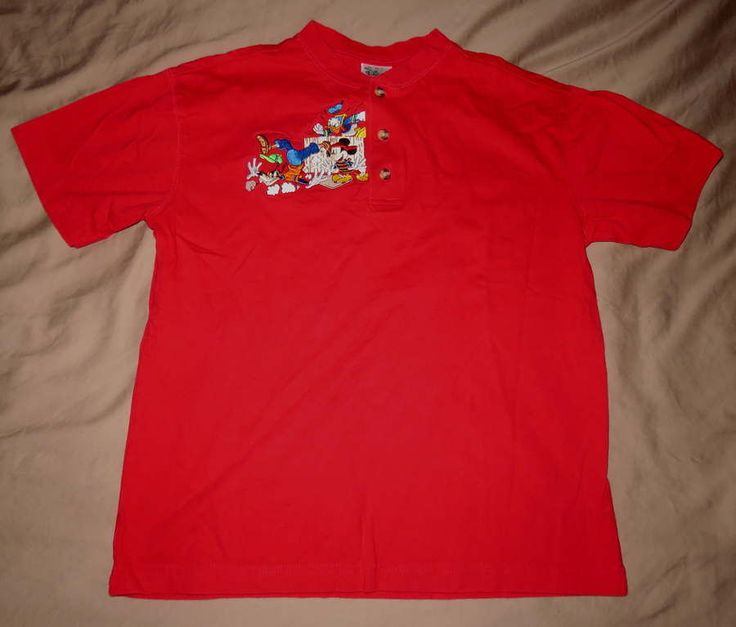 DISNEY Catalog Boy S/S Henley Red SHIRT Sz L 10/12 Mickey Donald Goofy Applique #Disney #Everyday