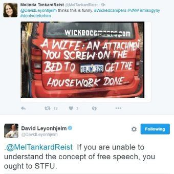Melinda Tankard Reist and David Leyonhkelm tweets