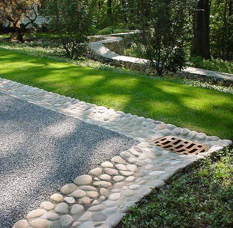 driveway landscaping ideas | Park Landscape Design Driveways #Garden #Garten #Wasser #water #water rill #gutter #Rinne #stones #pebbles #concrete #Beton #DIY #design #mediterran #Mediterranean #Steine #Kieselsteine #water feature #open drainage channel