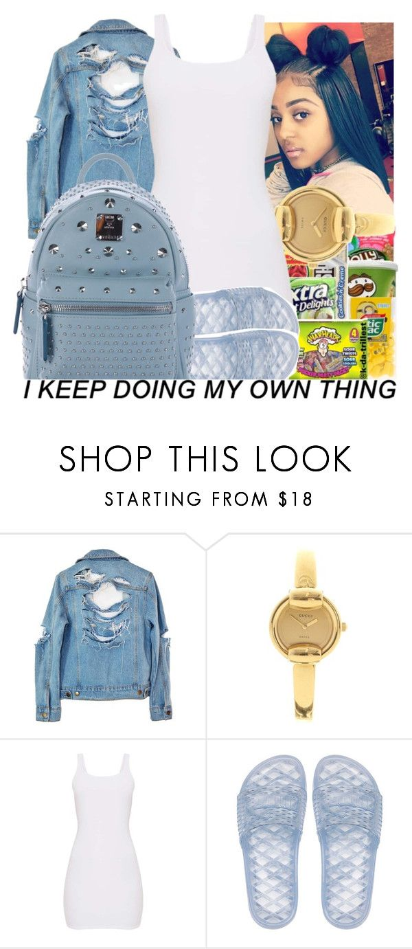 """""""Jean Jacket Contest"""" by issaxmonea ❤ liked on Polyvore featuring High Heels Suicide, Gucci, Puma and MCM"""