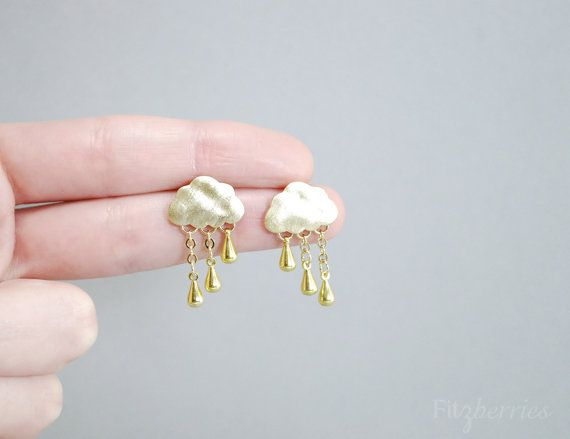 Unique raincloud earrings  Gold raindrops earrings  by Fitzberries, $25.00