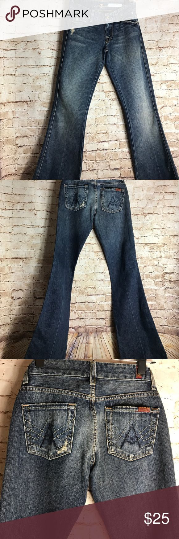 """✨7FAM✨ 7 For all Mankind womens jeans A Pocket med wash denim size 25  Good Pre-owned condition No rips, tears, marks or stains Please see pictures for details   Laying flat  Waist 14"""" Rise 8"""" Inseam 33"""" 7 For All Mankind Jeans"""