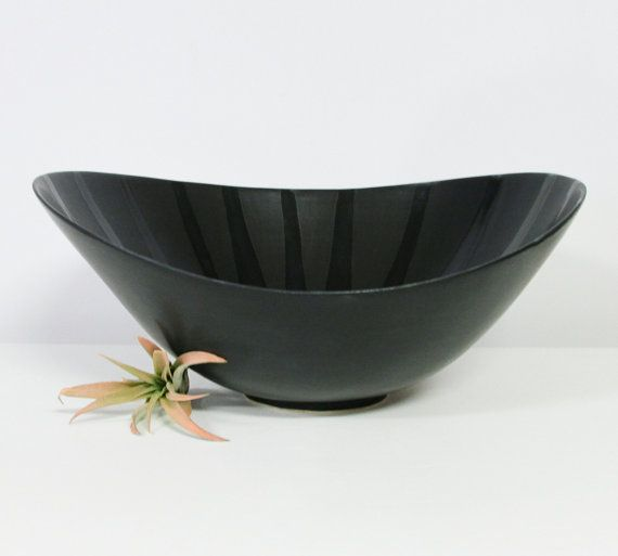 Large Porcelain Bowl in Satin Matte Black - Handmade Pottery Serving Bowl - Asymmetrical Bowl in Black - Tilt Bowl - Large Fruit Bowl