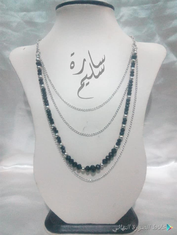 عقد من الكريستال مع سلاسل معدنية هاند ميد Chain Necklace Necklace Chain