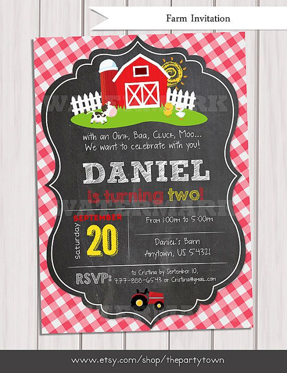Farm Invitations Old McDonald Invitations Country by ThePartyTown