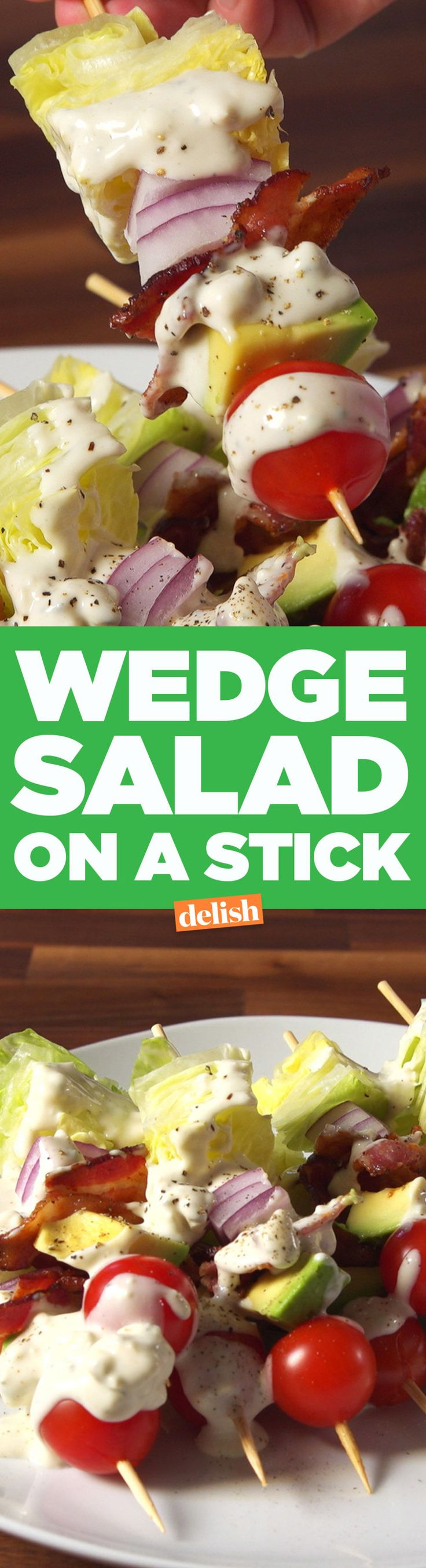Wedge Salad On A Stick: Can make vegan and/or with healthier dressing, too!