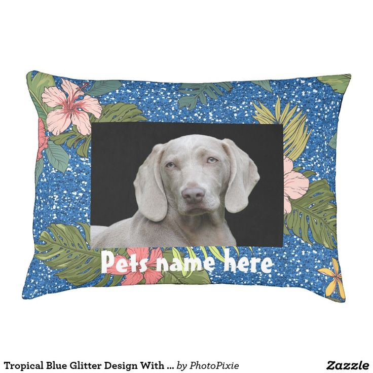 Tropical  Faux Blue Glitter Design With Your Pets Photo Large Pet Pillow/Bed