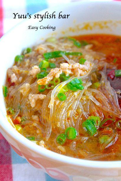 レンチンで超簡単    春雨坦々スープ