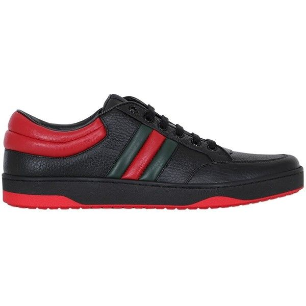 Gucci Men Ronnie Hammered Leather Sneakers (6.430.965 IDR) ❤ liked on Polyvore featuring men's fashion, men's shoes, men's sneakers, black, gucci mens sneakers, mens shoes, mens black leather sneakers, gucci mens shoes and mens leather sneakers