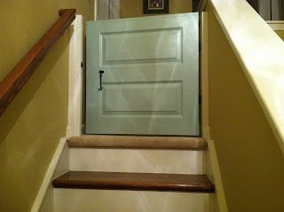 Dutch door (half door) style baby gate for stairs. So much better than store bought baby gates!
