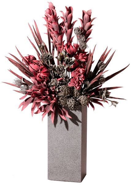 Red And Gray Eva Floral Arrangement In Tall Rectangular