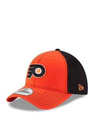 New Era Philadelphia Flyers Mens Orange Team Front Neo 39THIRTY Flex Hat