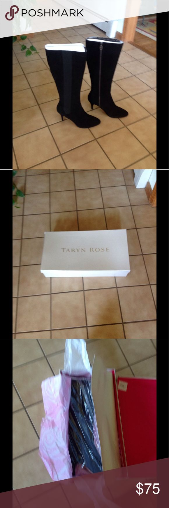 NIB. Taryn Rose suede boot Black suede Taryn Rose high heel boot.  They are brand new...only took out of the box to show you a picture of them.  Size 10M.  Style is Theresa Taryn Rose Shoes Heeled Boots